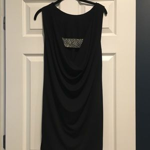 Sexy low back black mini dress with sequin band